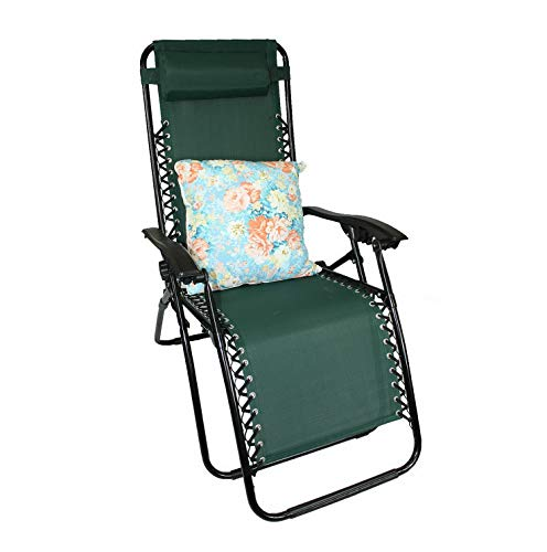 Kaputar Lounge Chair Recliner Patio Oudoor Chair+2in1 Pillow and Blanket Combo Set   Model CMPNGCHR - 48   2in1 Blanket/Pillow Design - Floral Blue