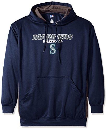 MLB Seattle Mariners Men's Fleece Hood, 5X, Navy/ Storm Grey -