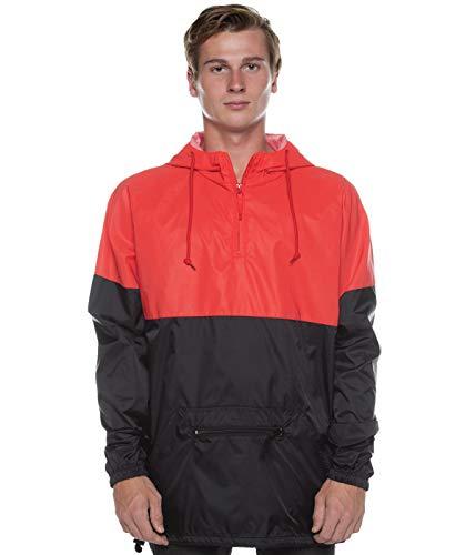 (Cottonhood Two Tone Reflective Water Resistant 1/4 Zip Pullover Anorak Windbreaker Jacket (XX-Large, Scarlet/Black))