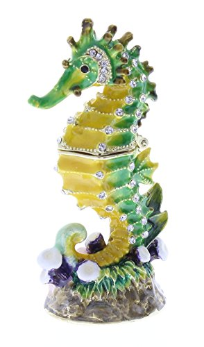 Sea Horse Small Trinket Box, Swarovski Crystal, Hand Painted Green & Yellow Enamel Over Pewter, Inside of Box with Lovely Enamel, L 1.25 X H 3.00 X W 1.25 (Enamel Pewter)