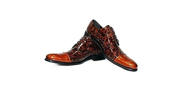 Modello Trivia - Cuero Italiano Hecho A Mano Hombre Piel Naranja Zapatos Vestir Oxfords - Cuero Charol - Encaje: Amazon.es: Zapatos y complementos