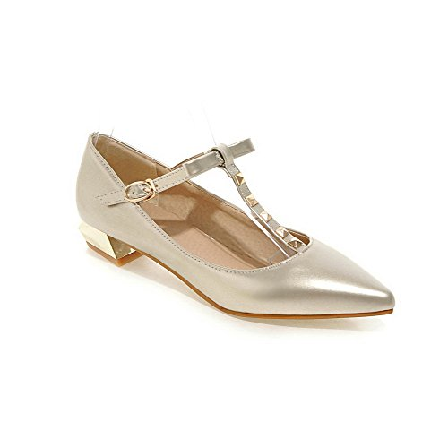 AllhqFashion Womens Pointed Closed Toe Buckle PU Solid Low Heels Pumps-Shoes Gold aXC0a