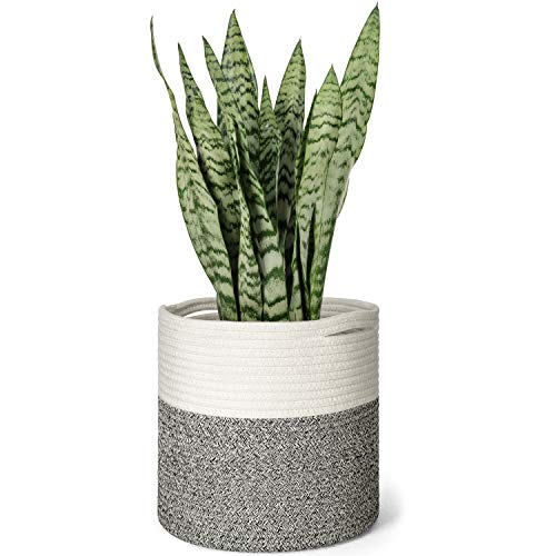 Mkono Cotton Rope Plant Basket Modern Floor Indoor Planter Up to 10 Inch Flower Pot Woven Storage Organizer with Handles Home Decor, 11 x 11