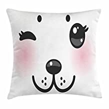 Kawaii Throw Pillow Cushion Cover, Japanese Anime Dog Face with Giant Eyes and Pink Cheeks Doodle Character, Decorative Square Accent Pillow Case, 18 X 18 Inches, Pale Pink Black White