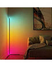 Modern Bright LED Corner Floor Lamp with Remote - Smart Bluetooth App Control RGB Color Changing Standing Lamp Corner Wall Lighting for Home Décor, Living Room, Bedroom, Party