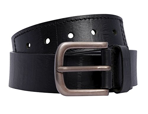 Chocolate Pickle New Mens Crinkle Look Hole Stitch Leather Buckle Belts Black XL (Crinkle Leather Belt)