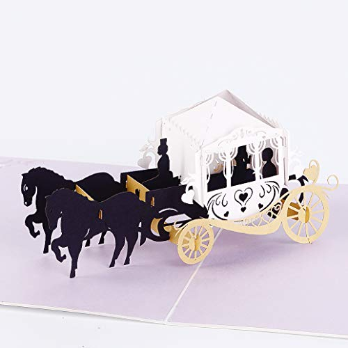 Liif Magic Carriage Greeting Pop Up Card For All Occasions, Happy Birthday Card, Wedding Card,Valentines Day Card, Anniversary Card, Anniversary Gifts For Her
