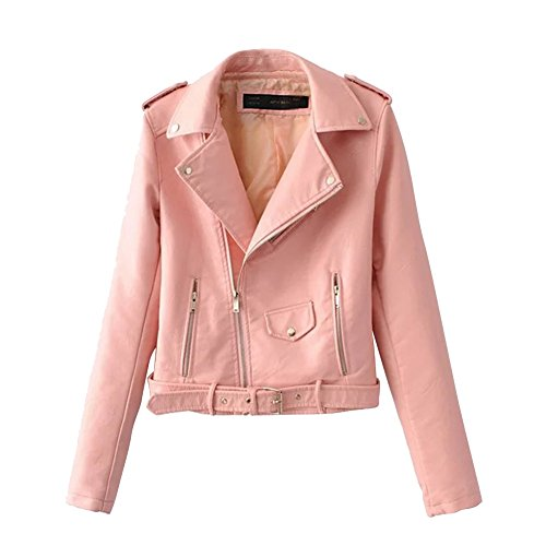 Slim Biker Faux Leather Jacket Motorcycle PU Leather Jackets Punk Rock Coats (Ladies Leather Zipper Jacket)