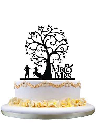 Mr & Mrs Cake Topper Wedding Cake Topper with Tree