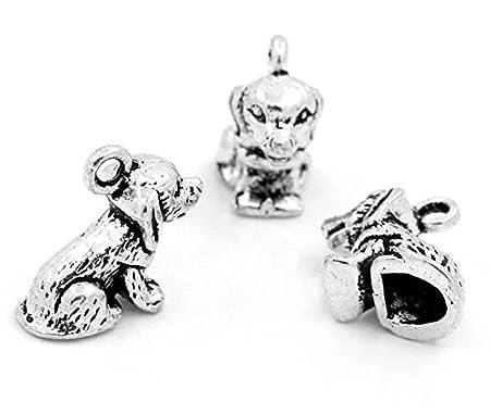 10 x Tibetan Silver DOG PUPPY SITTING 3D 15mm Charms Pendants Beads