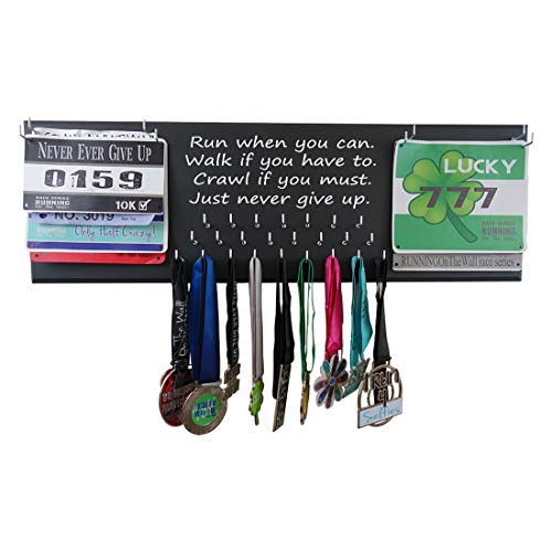 Running On The Wall Medal Hanger Display and Race Bibs Run When You CAN.Walk IF You Have to. Crawl IF You Must. JUST Never GIVE UP Double Race Bib - Bib Double