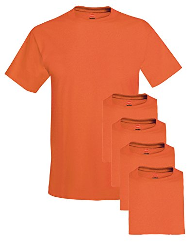 Hanes mens 5.2 oz. ComfortSoft Cotton - Reversible T-shirt Orange