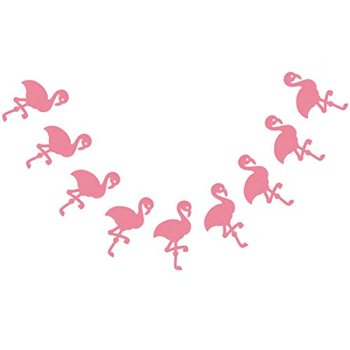 Bobee Pink Flamingo Party Decorations, 7-Foot Paper Garland, 6