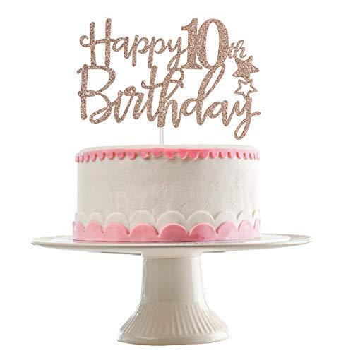 Rose Gold Glittery Happy 10th Birthday Cake Topper,10th Birthday Party Decorations,Birthday Cake Decor (Tenth Birthday Candles)
