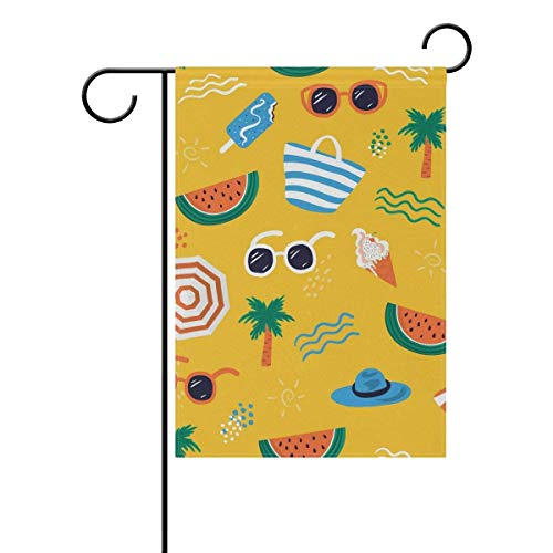 Double Sided Indoor Outdoor Garden Flag Summer Sunglasses Watermelon Polyester Double Sided Printing Fade Proof for Outdoor Courtyards Garden 12x18 inch