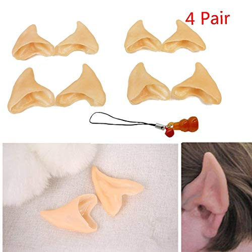 Kbraveo 4 Pair Latex Soft Elf Ear Fake Ears Ear Tips For Any Themed Party -
