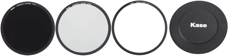 Kase Wolverine 77mm Magnetic Shockproof Tempered Optical Glass Filter Kit Includes Magnetic CPL MCUV ND64 /& Lens Cap/& Case 77