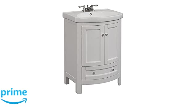 Runfine RFVA0069W Vitreous Vanity Top One Drawer and Cabinet with ...