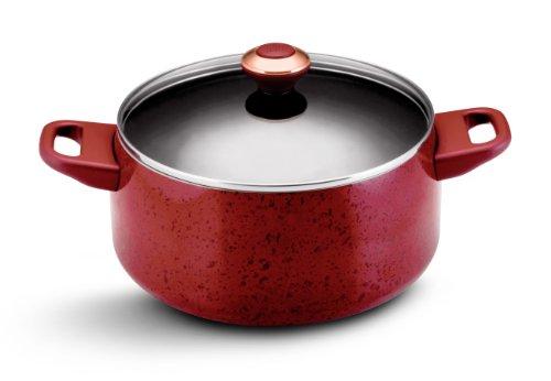 Porcelain Nonstick 6-Quart Covered Stockpot, Red Speckle ()