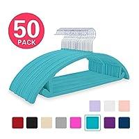 MIZGI Premium Velvet Hangers (Pack of 50) Heavyduty- Non Slip No Shoulder Bump Suit Hangers - Chrome Hooks,Space Saving Clothes Hangers,Rounded Hangers for Coat,Sweater,Jackets,Pants