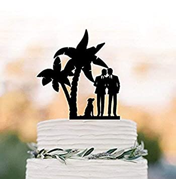 Gay Wedding Cake Topper With Dog Gay Silhouette Same Sex Mr And Mr