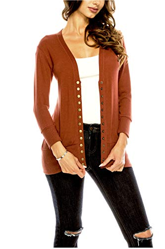 Women's V Neck Cardigan Snap Button 3/4 Sleeve Sweater with Ribbed Detail Collection Plus Size [S-3X] Copper 2X Large Plus