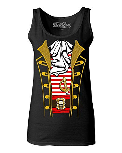 Shop4Ever Pirate Buccaneer Ruffle Striped Costume Women's Tank Top Large Black -