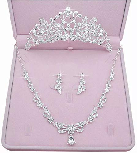 (Wedding Sets for Women Bling Bride Hair Accessories Tiaras Earrings Necklace Wedding Jewelry Sets A)