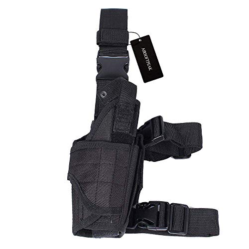 (AIRSOFTPEAK Tactical Leg Holster Universal Pistol Drop Leg Gun Holster Adjustable Hunting Thigh Holster Right Handed Mag Pouch, Black)