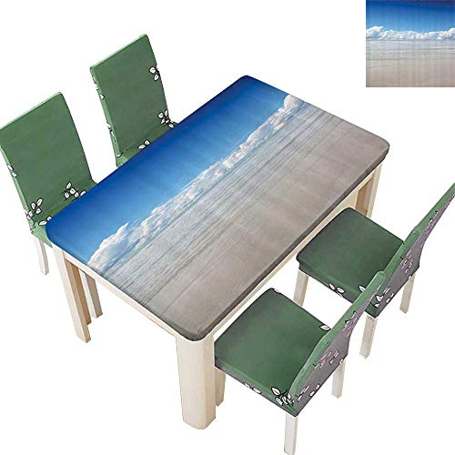 Printsonne Table in Washable Polyeste Sea to Sky with Clouds Nature Exotic ACH in South Asia Paradise Hot Wedding Party Restaurant 52 x 108 Inch (South Rattan Table Sea Rattan)
