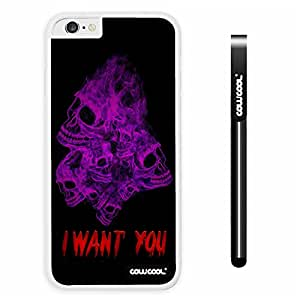 CowCool Apple iphone 6 4.7 Inch Soft Silicone Purple Skull With Smoke With Black Shell Single Layer Protective Case (6)
