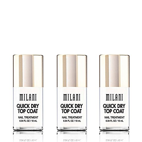Milani Color Statement Nail Lacquer, Quick Dry Top Coat, 0.34 fl. oz. / 10 ml (3 pack) ()