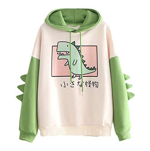 TOPKEAL Dames herfst winter casual lange mouwen schattige dinosaurus-pullover capuchontrui pullover kleurnaden…