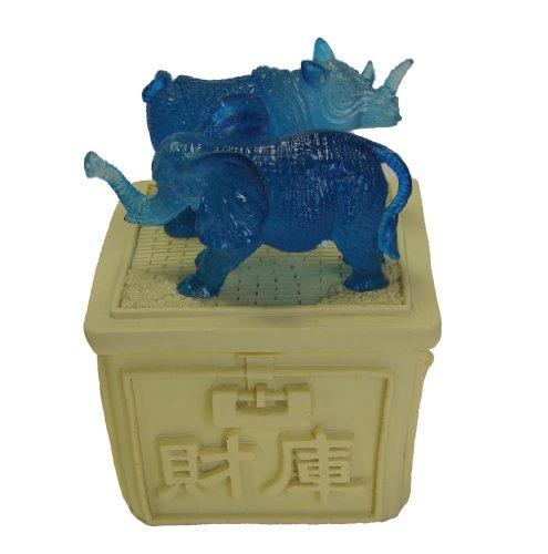 Feng Shui Blue Rhino and Elephant Standing on Treasure Box