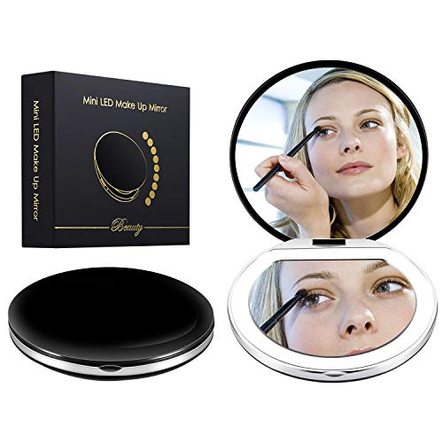 Led Compact Mirror [2019 Newest] Lighted Travel Makeup Mirror Rechargeable Led Purse Mirror Portable with Lights 1X 4X Magnification, Low/Middle/High Brightness Adjustable (Round, Black) ()