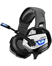 ONIKUMA Micro Casque Gaming PS4 [Version Améliorée] Casque PC Super-Légère, Stéréo Surround 4D, Lumière LED, Forte Basse, Anti-Bruit, Bonne Isolation, 3.5mm Connecteur Pour Xbox One, Laptop, Tablette