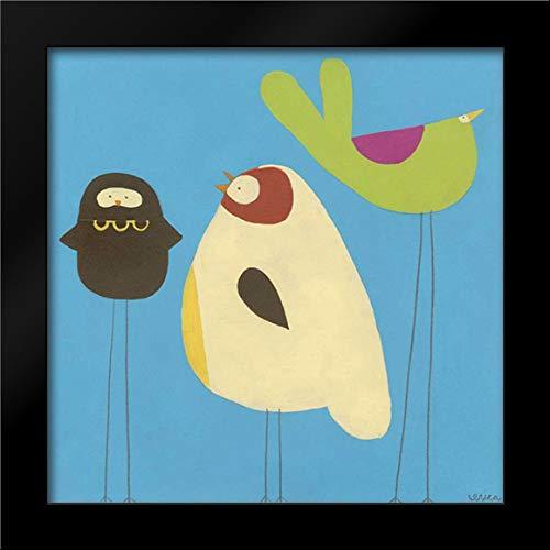 Feathered Friends III 28x28 Modern Black Wood Framed Art Print by Vess, June Erica