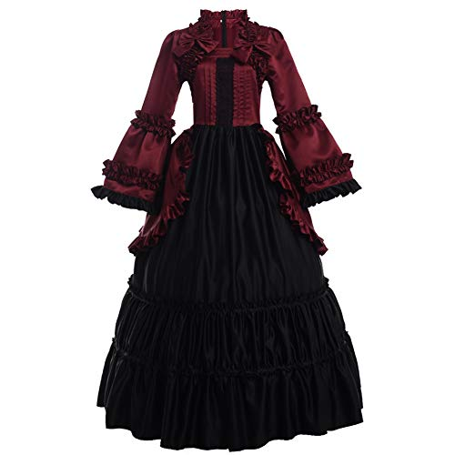 m Graceart Donna Di Abito Medievale Cosplay Costume Viola Lungo Da Halloween Vestito Rosso Retrò wqgwHpTaPn