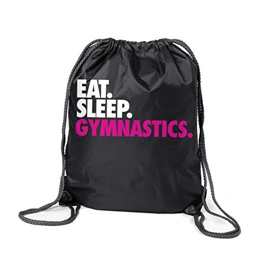 ChalkTalkSPORTS Gymnastics Sport Pack Cinch Sack | Eat Sleep Gymnastics | Black (Gymnastic Bag)