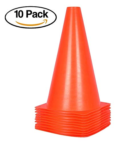 9 inch Orange Traffic Cones – 10 Pack of Field Marker Cones for Outdoor Activity & Festive Events (Orange)