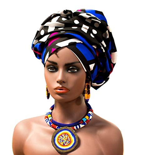 Hitarget Authentic African Headwrap Scarf | Traditional Multi-Colored Print from Africa HT259 (Blue and Pink)