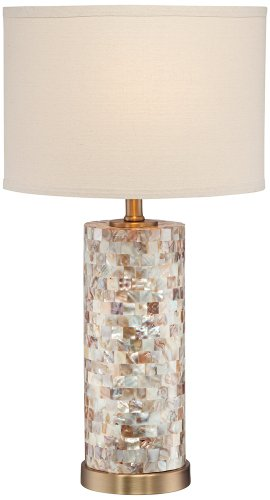 Margaret Mother Of Pearl Tile Cylinder Table Lamp Amazon Com