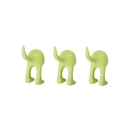 Ikea Set of 3 Dog Tail Hooks Hat Coat Key Wall Mounted Hanger (Green)