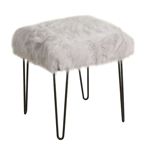 HomePop Faux Fur Decorative Square Ottoman with Metal Hairpin Legs, Grey (Furry Vanity Stool)