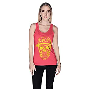 Creo Yellow Coco Skull Tank Top For Women - S, Pink