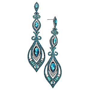 Rosemarie Collections Women's Victorian Art Deco Faceted Crystal Statement Earrings (Peacock)