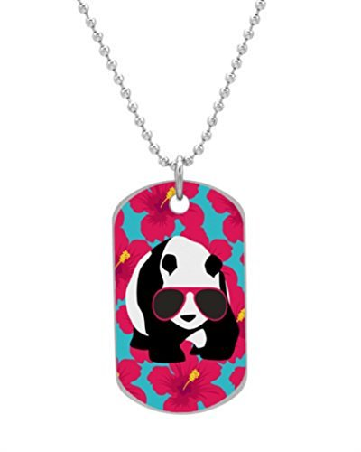 Alokozy® Funny Panda Bear Beach Bum Cool Sunglasses Tropics Fashion Dog Tag Necklace includes 27