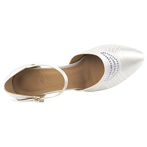Oro Piccione Scarpe Da Sposa Partito Scarpe Partito, Pompe Vestito Comodità Sera: Donne Scarpe Da Ballo Sala Da Ballo Del Tallone 1397- Raso Bianco