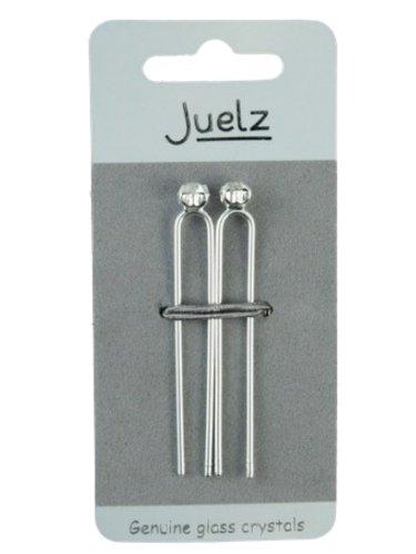 Pair of Genuine Glass Crystal Silver Tone Hair Pins (Genuine Crystal Barrette)