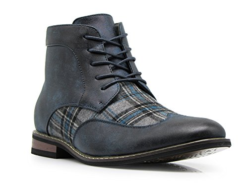 Titan04 Men's Spectator Tweed Plaid Two Tone Chukka Ankle Wingtips Oxfords Dress Boots Perforated Lace Up Dress Shoes (10 D(M) US, Navy)